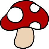 キノコの手描きイラスト素材 赤色きのこ