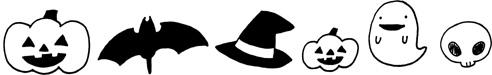 ハロウィンモチーフ飾り線・ライン 手書きイラストフリー素材 モノクロ 白黒
