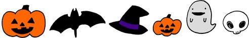 ハロウィンモチーフ飾り線・ライン 手書きイラストフリー素材 カラー