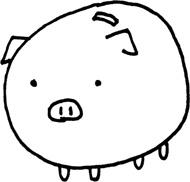 貯金ブタのイラスト素材 豚の貯金箱【無料】 モノクロ白黒