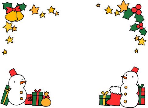 クリスマス飾り枠フレームの手描きイラスト無料素材