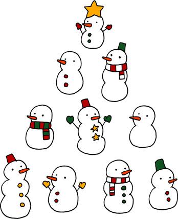 雪だるまのクリスマスツリー手描きイラスト無料素材