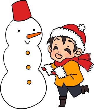 雪だるまと男の子のイラスト無料素材 冬のイラスト 少年