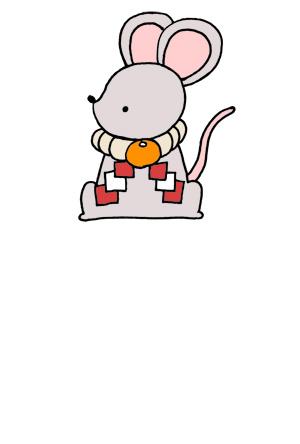 【シンプル】しめ縄の首飾りをしたネズミの手描きイラスト年賀状