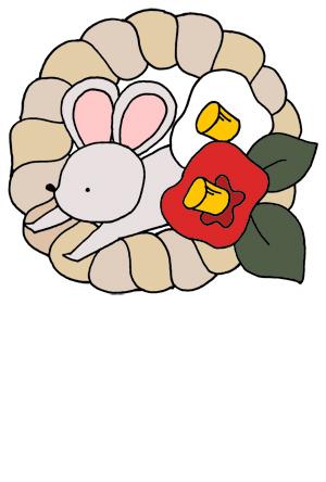 【無料】手描きイラスト年賀状 ネズミと椿
