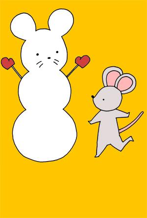 【無料】手描きイラスト年賀状 かわいいネズミと雪だるま