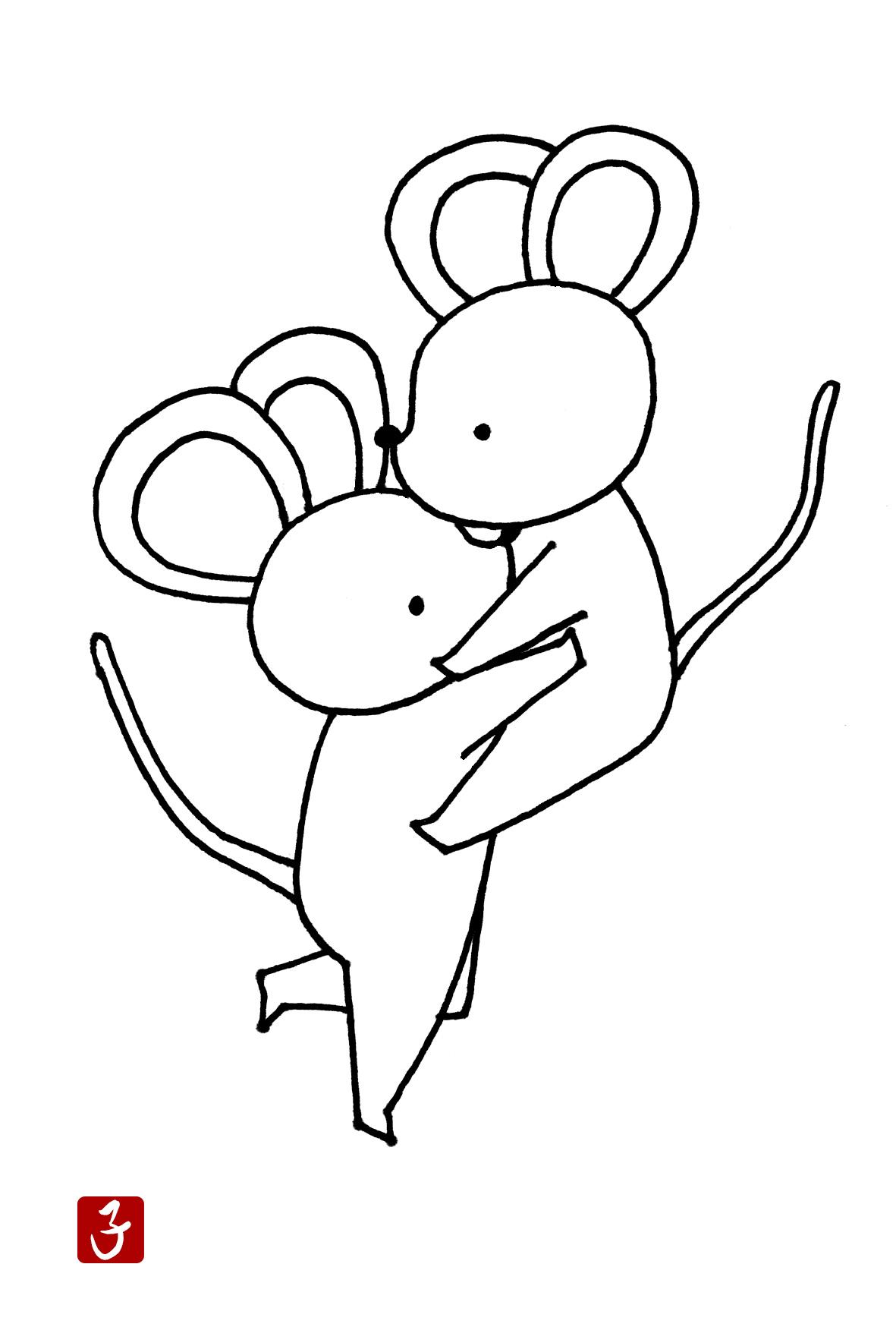 無料 手描きイラスト年賀状 モノクロかわいいネズミのハグ