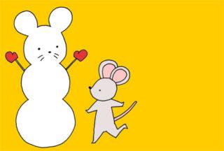 【無料】手描きイラスト年賀状 かわいいネズミと雪だるま【横型】