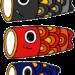 こいのぼり親子子供3匹のフリー素材【無料イラスト】